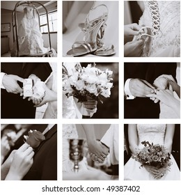 Wedding collage of nine photos, sepia