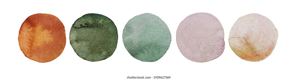 Wedding color idea 2021 trend. Watercolor dot collection. Hand painted Spots on white background. Round, circle Isolated. Blobs of different color. For Wedding dress code card. Abstract bachground