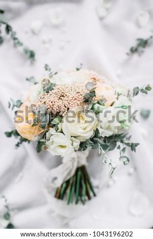 Wedding Composition Bridal Bouquet Eucalyptus Branches Stock Photo