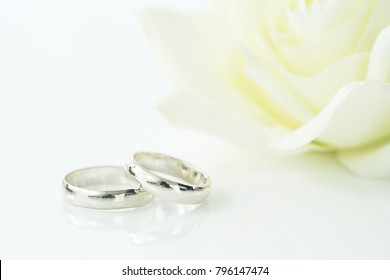 Wedding concept,Close up Wedding ring on white background