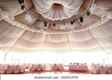 Wedding Concept.Luxury Stylish Wedding Reception pink Decorations
