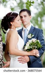 wedding copule. Beautiful bride and groom. Just merried.