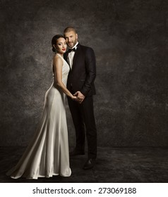 Wedding Couple, Bride and Groom Fashion Portrait, Elegant Suit, Long Silk Dress, Full Length