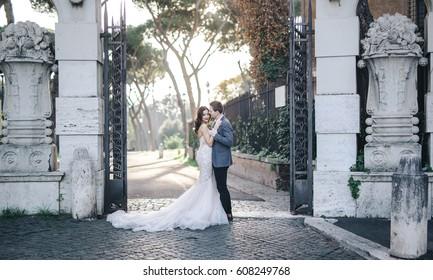Wedding couple bride groom fashion outside