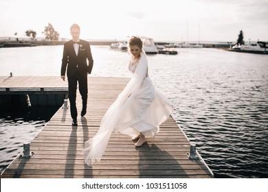 43411c6e74f1f5 Wedding Couple Bride Groom Walking Posing Stock Photo (Edit Now ...
