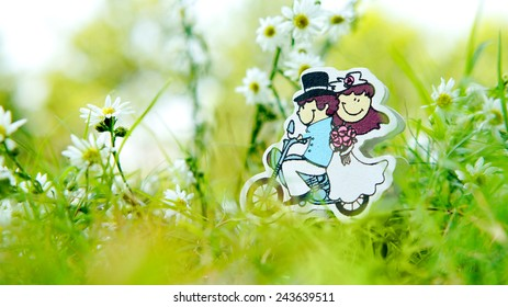 Wedding couple cartoon in green field with flowers