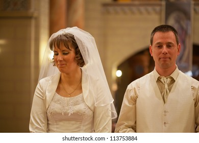 wedding couple in a church
