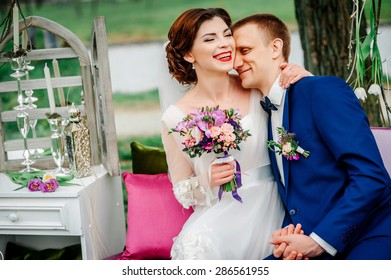 wedding couple with the decoration location . happy wedding day