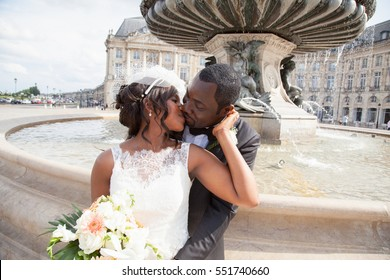 Wedding couple emotional portrait loving bride and groom african american in marriage day