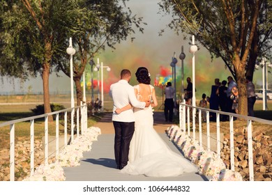 Wedding couple enjoing the view