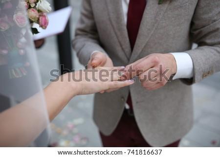 9ca0b191e5 Wedding Couple Hands Wedding Ring Stock Photo (Edit Now) 741816637 ...