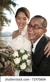 Wedding couple happy on wedding day