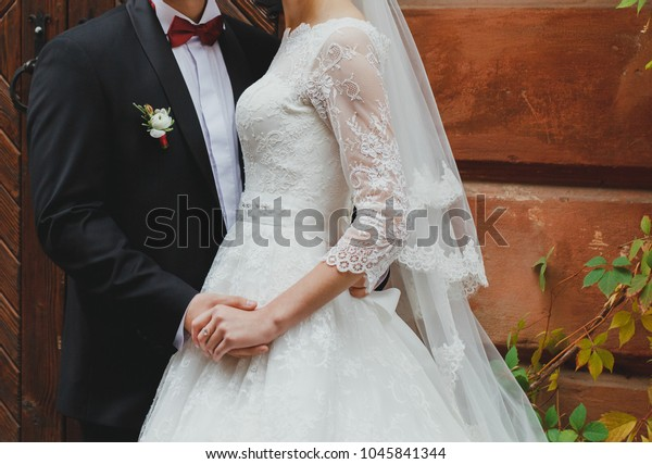 Wedding Couple Hugging Near Old Wall Stock Photo Edit Now 1045841344