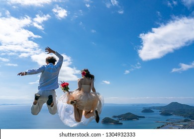 wedding couple jump