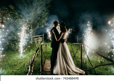 Wedding couple are looking to the fireworks
