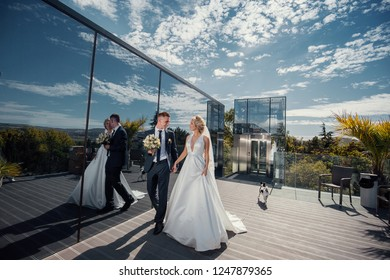 Wedding couple on the background of the modern city.