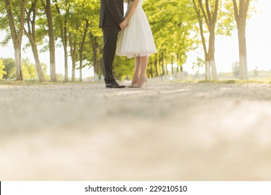 Wedding couple on the country road
