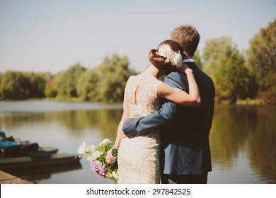 Wedding couple on the lake