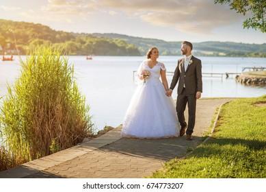 Wedding couple on nature.