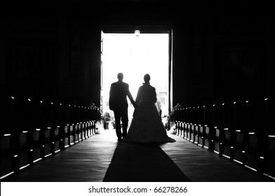 Wedding couple out of church