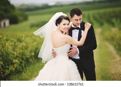 wedding couple, outdoor portrait
