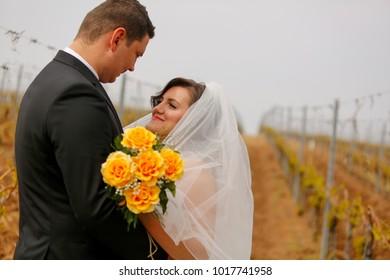 wedding couple posing in vineyard
