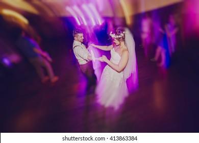 wedding couple in a restaurant celebrating her wedding day