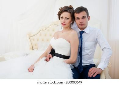 wedding couple together interior