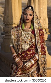 wedding couple in tradional costume in jaisalmer  in rajasthan state in india