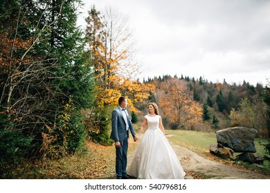 wedding couple walking in the mountains