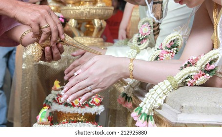 Wedding of Cultural Thailand with holy water.