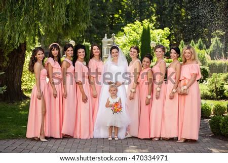 Wedding Day Beautiful Bride Bridesmaids Posing Stock Photo Edit Now