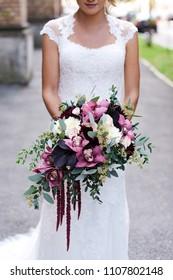 Wedding day bride bouquet