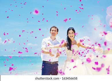 wedding day - couple with plenty of petals