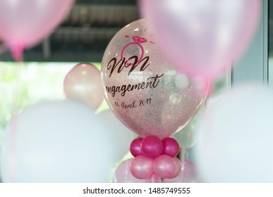 Wedding day have surprise by balloon in  Apr 19,2019 ,Chonburi Thailand