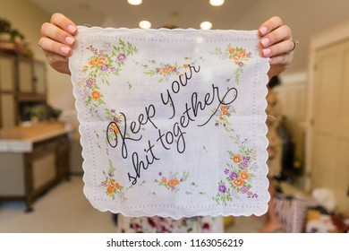 Wedding day humor, Handkerchief reminder to keep your shit together. Funny wedding photo