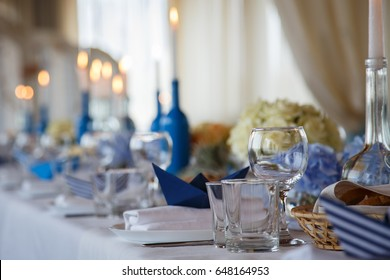 Wedding decor for banquet with candles