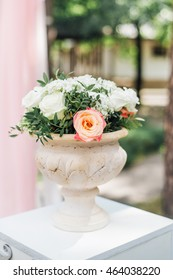 Wedding decor, floral arrangements, outdoor.