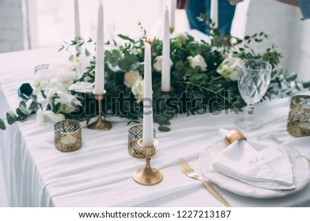 Wedding Decor Flowers Black Gold Decor Stock Photo Edit Now