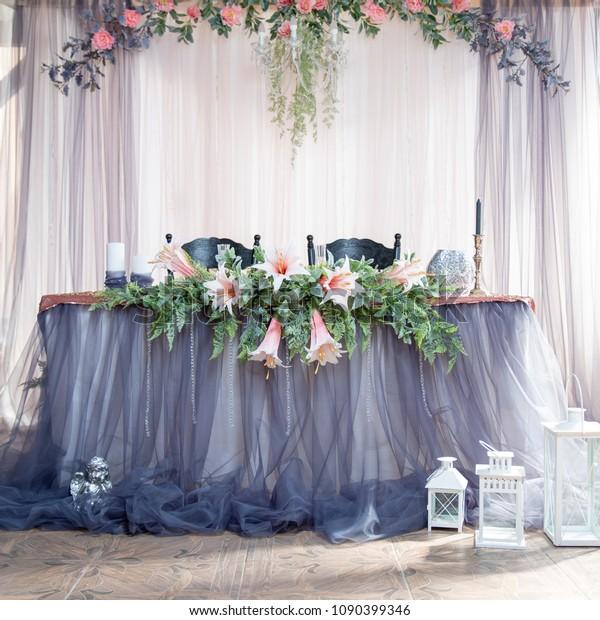 Wedding Decor Flowers Blue Pink Green Stock Photo Edit Now 1090399346