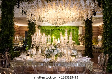 Wedding decor flowers and candles