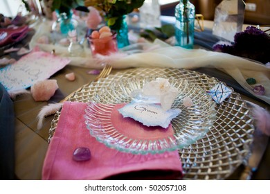 wedding decor, flowers, pink and turquoise decor, candles, crystals and feathers