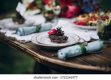 wedding decor in the forest, cake