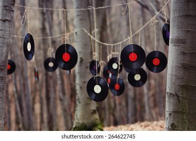 wedding decor in forest of vinyl