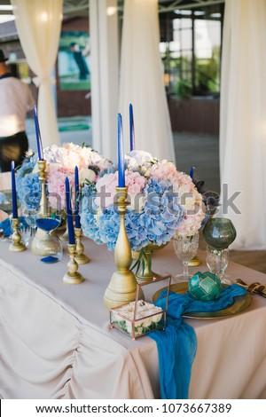 Wedding Decor Pink Blue Colors Stock Photo Edit Now 1073667389
