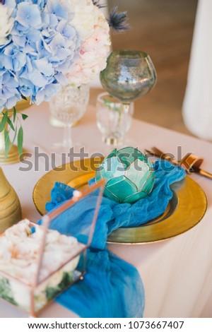 Wedding Decor Pink Blue Colors Stock Photo Edit Now 1073667407