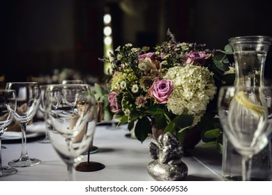 Wedding decor in rustic style. Served wedding table. Restaurant.