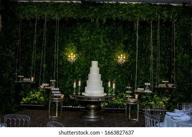 wedding decor sweets candles and cake