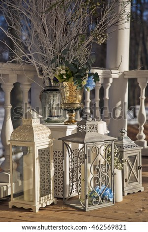Wedding Decor White Grey Steel Lanterns Stock Photo Edit Now