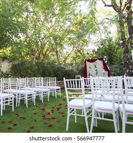 Wedding banquet open air wedding decor stock photo royalty free wedding decoration arch on the lawn in the park junglespirit Image collections